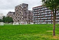Urban apartments with balconies, Orestad, Copenhagen, Denmark, Scandinavia. Orestad is a developing city/new town on the island of Amager