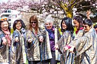 Group of choral performers at the 2019 Richmond Cherry Blossom Festival in Steveston British Columbia.