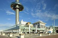 Morning at i360 tower on Brighton seafront, East Sussex, England.