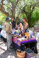 Vendors selling tradition local handmade items at the Cinco de Mayo event at Tohono Chul Park in Tucson, AZ.