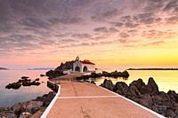 Agios Isidoros church in northern Chios at sunrise. .