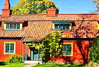 The Red Row houses, Skansen open-air museum, Djurgarden, Stockholm, Sweden, Scandinavia. The Red Row was put up in the 1810's by John Burgman a wealth...