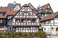 half-timbered houses of Gernsbach, Murgtal, Germany, historic old town of Northern Black Forest.