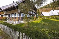 Black Forest house with hipped roof and wooden facade, village Menzenschwand, Germany, farming house with surrounding garden.
