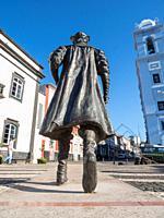 Statue of Vasco da Gama by Duker Bower, Patio da Alfandega near the harbour. Capital Angra do Heroismo, the historic center is part of UNESCO world he...