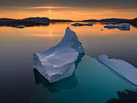 Icebergs at sunset, Narsaq, Greenland.