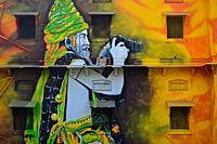"""Mural painting representing a """"""""sadhu"""""""" ( Allahabad, India)."""