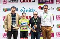 Ane Santesteban, best local rider, at the podium of the 2nd stage of UCI women cycling race Emakumeen Bira, at the Basque Country. Stage finished in A...