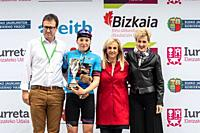 Tanja Erath, leader of sprints, at the podium of the 2nd stage of UCI women cycling race Emakumeen Bira, at the Basque Country. Stage finished in Amas...