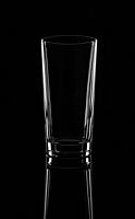 Empty high glass, isolated on a black background.