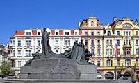 Prague - Beautiful Houses and Jan Hus Memorial at The Old Town Square.