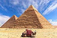 The Pyramid of Khafre and the Pyramid of Khufu in Giza, Egypt.