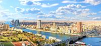Cairo downtown panorama, view on the Nile and bridges.
