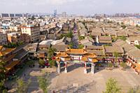 Kunming, China - May 30, 2019: Aerial view of Guandu Old Town, one of the landmarks in Kunming, Yunnan's capital.