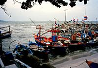 Fishing community in Hua Hin in Thailand in Southeast Asia Far East.
