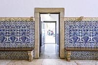 Azuleros panels in the Entrance hall of the Former Colegio do Espirito Santo, Courtyard of Evora University, Alentejo Region, Portugal, Europe.