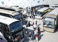 Coaches picking up tourists at Las Palmas/Gran Canaria airport. Gran Canaria, Canary Islands, Spain.