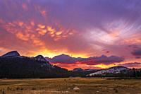 Sunset over Tuolumne Meadows, Yosemite National Park, California USA.