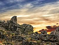 Sunset at Muniana cliff. Madrid. Spain. Europe.