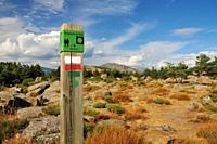 A signpost marking the Civil War bunker itinerary. La Sevillana Hill, Community of Madrid.