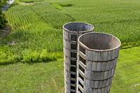 Three Oaks, Michigan - The remains of two old concrete silos on a Michigan farm.