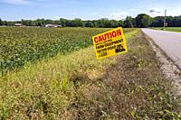 Three Oaks, Michigan - A sign warns motorists to watch out for farm equipment on a rural road.