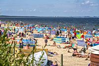 mass tourism at the baltic beach in Miedzyzdroje, Wolin Island, West Pomeranian, Poland, Europe.