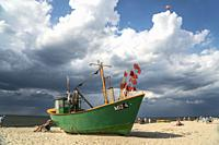 fishing boat at the baltic beach in Miedzyzdroje, Wolin Island, West Pomeranian, Poland, Europe.