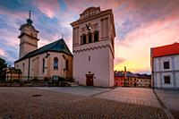 Gothic church and Renaissance bell tower in the main square of Spisska Sobota in Poprad, Slovakia.