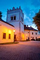 Renaissance bell tower at the Basilica minor of the Holy Cross in Kezmarok, eastern Slovakia.