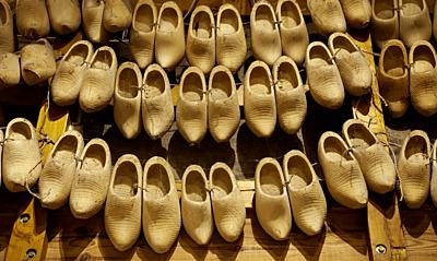 Dutch wooden clogs, shoe making detail, tradition of the Netherlands.