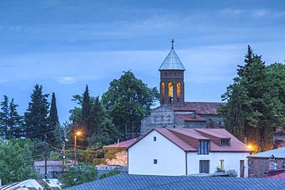Georgia, Kakheti Area, Telavi, hilltop church, dusk.
