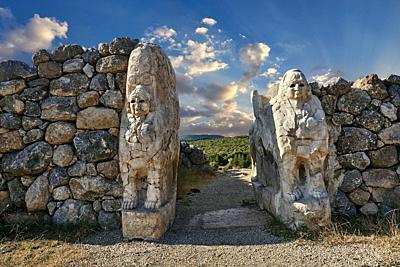 Picture & image of Hittite Sphinx sculpture of the Sphinx Gate. Hattusa ( Hattusas) late Anatolian Bronze Age capital of the Hittite Empire. Hittite a...