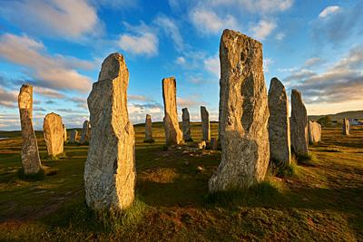 Calanais Standing Stones central stone circle erected between 2900-2600BC measuring 11 metres wide. At the centre of the ring stands a huge monolith s...