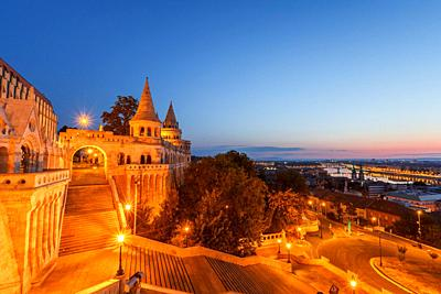 Morning view of Fisherman's Bastion in historic city centre of Buda, Hungary. .