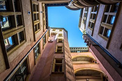 Traboule a historical passageway in Vieux Lyon or Old Lyon, one of Europeâ. . s most extensive Renaissance neighbourhoods, Lyon, France.