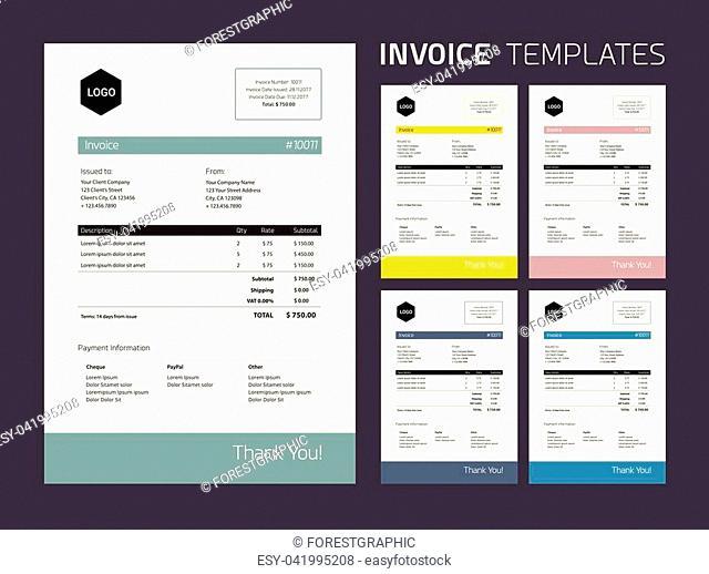Invoice Template Set : beautiful subtle colors