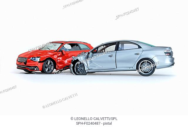 Two cars accident. Crashed cars. One silver sedan against one red coupe. Big damage. Isolated on white background. Viewed from a side