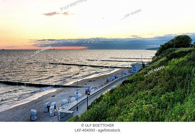 Baltic sea beach in the seaside resort of Nienhagen at sunrise, Mecklenburg-Western Pomerania, Germany