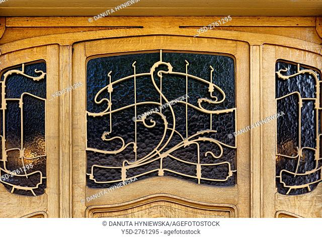 architectural detail part of entrance door- Art Nouveau Victor Horta's own house and atelier designed in late 1890s, together with three other town houses -...