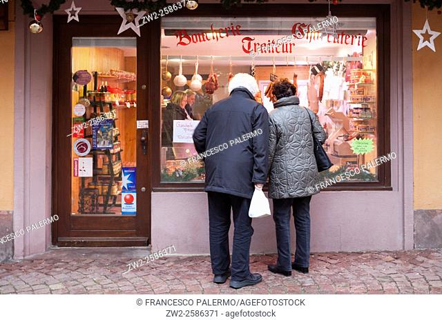 The butcher shop window at Christmas. Kaysersberg, Alsace. France