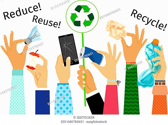 Raised hands with trash and recycle sign, vector illustration