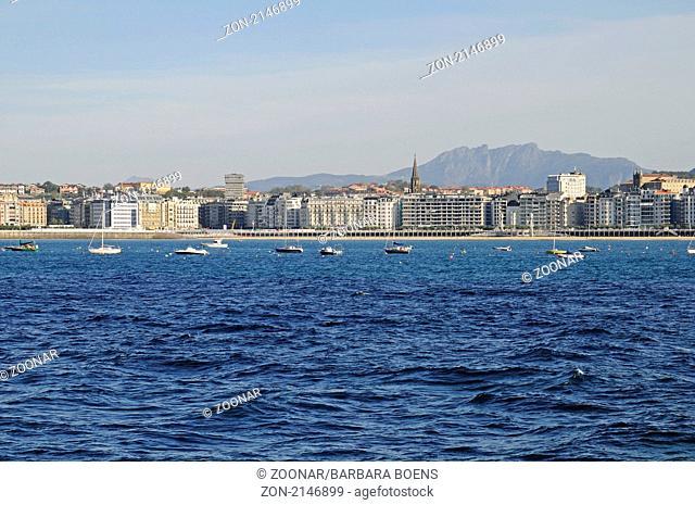 La Concha, bay, Bucht, San Sebastian, Pais Vasco, Basque Country, Baskenland, Spanien, spain
