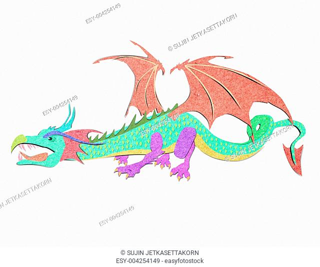 recycled paper craft stick dragon white background
