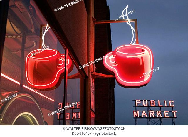 Neon coffee cup sign at evening, Pike Place Market. Seattle. Washington, USA