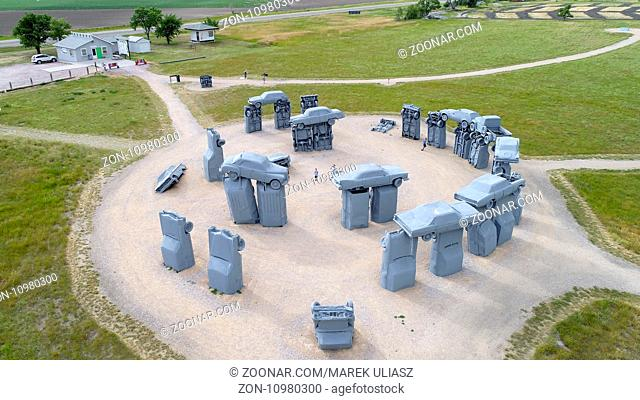 ALLIANCE, NE, USA - July 9, 2017: Carhenge - famous car sculpture created by Jim Reinders, a modern replica of England's Stonehenge using old cars
