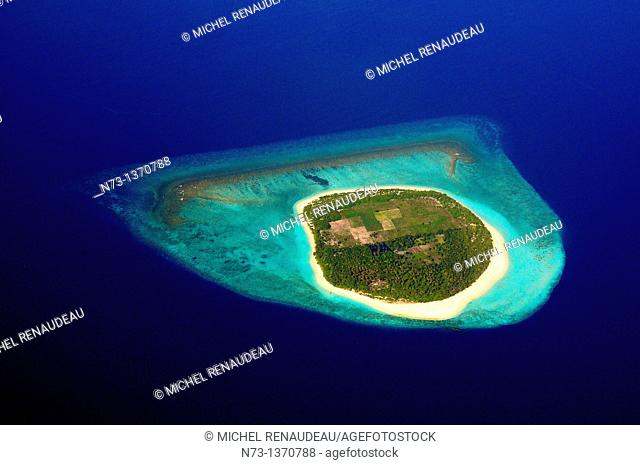 Indian Ocean, Maldives, Atoll and Island from the sky