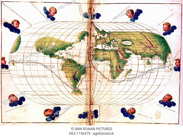 Map of Magellan's round the world voyage, 1519-1521. A Portuguese-born navigator sponsored by Spain, Ferdinand Magellan (c1480-1521) led the expedition that...