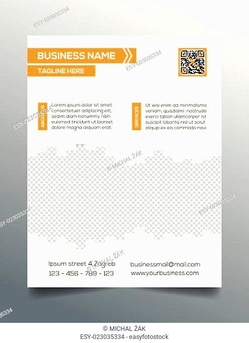 Business flyer template - sleek modern minimalistic design in orange