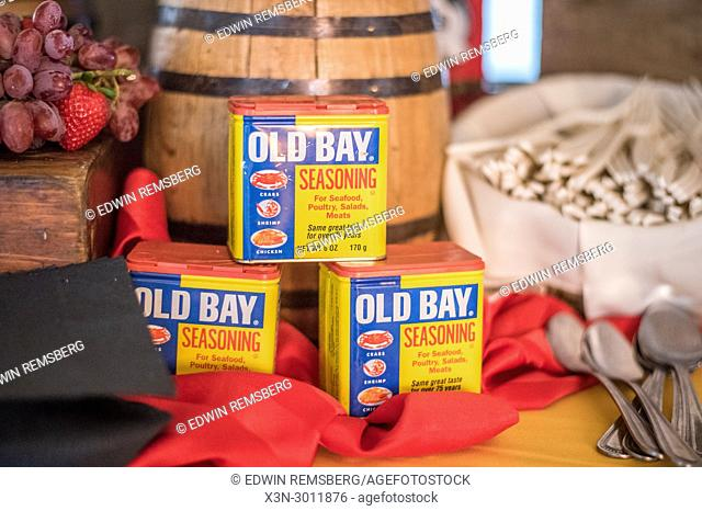 Stack Old Bay Seasoning, an Maryland symbol, out on display on table, Annapolis, Maryland. USA